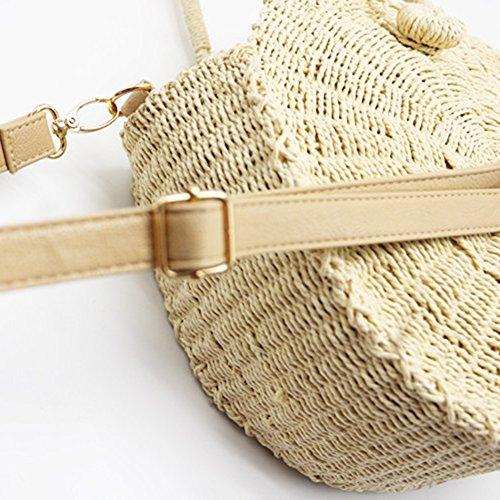 versátil nueva del Beige de Bolso honda de trenzada Crossbody paja tejida playa aire bolso bolso libre de playa playa circular de al bolso Bolsa Youngsown la twa4q11