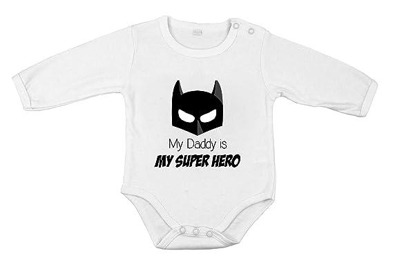 db6ee9470b1cf Mon Papa est Mon Super-héro Unisexe Batman Body Coton pour bébé Longue  Manche  Amazon.fr  Vêtements et accessoires