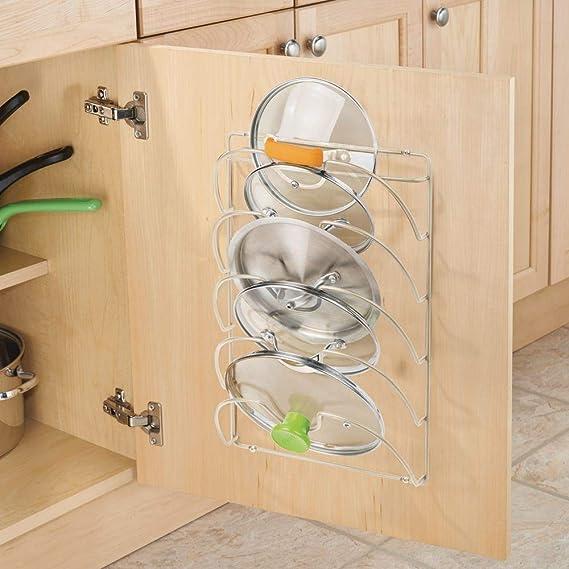 mDesign Soporte de pared vertical para utensilios y menaje de cocina - Práctico organizador de tapas de ollas y sartenes - Útil organizador de cocina de ...