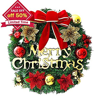 amazoncom christmas wreath christmas decorated ornament wreath garland seasonal pine wreath with cones red berries bristle indoor outdoor window door - Window Wreaths Christmas Decorations