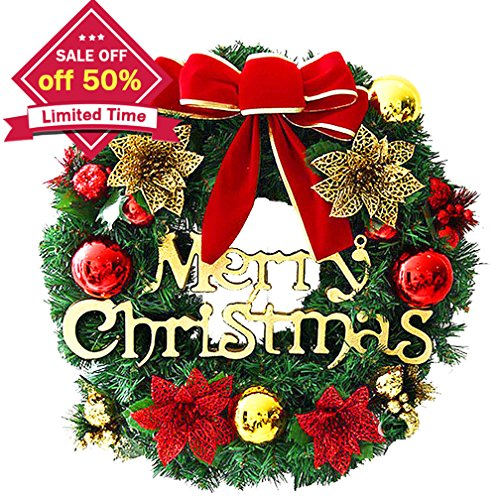 Christmas Wreath, Merry Christmas Decorated Pine Wreath , Artificial Flower Wreath Garland Door Decorative Hanging Christmas Wreaths Garland for Home Decorationwiyh Bowknot, Bells, Bristles, Cone, Red (Merry Cristmas)