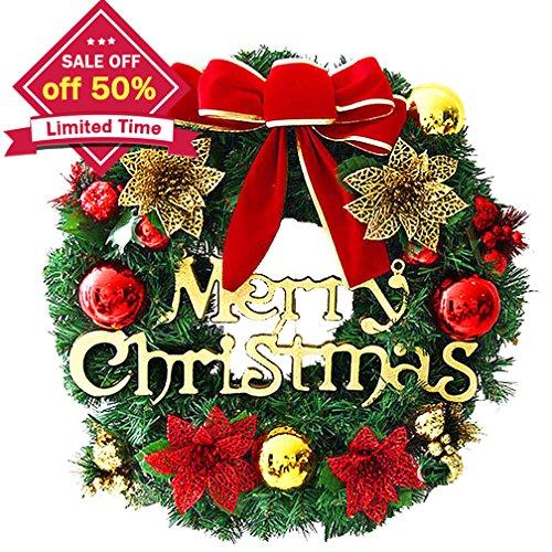 Christmas Wreath, Christmas Decorated Ornament Wreath Garland, Seasonal Pine Wreath with Cones, Red Berries, Bristle Indoor Outdoor Window Door Christmas Wreath Decoration, Red, 30cm (Ornament Red Wreath)
