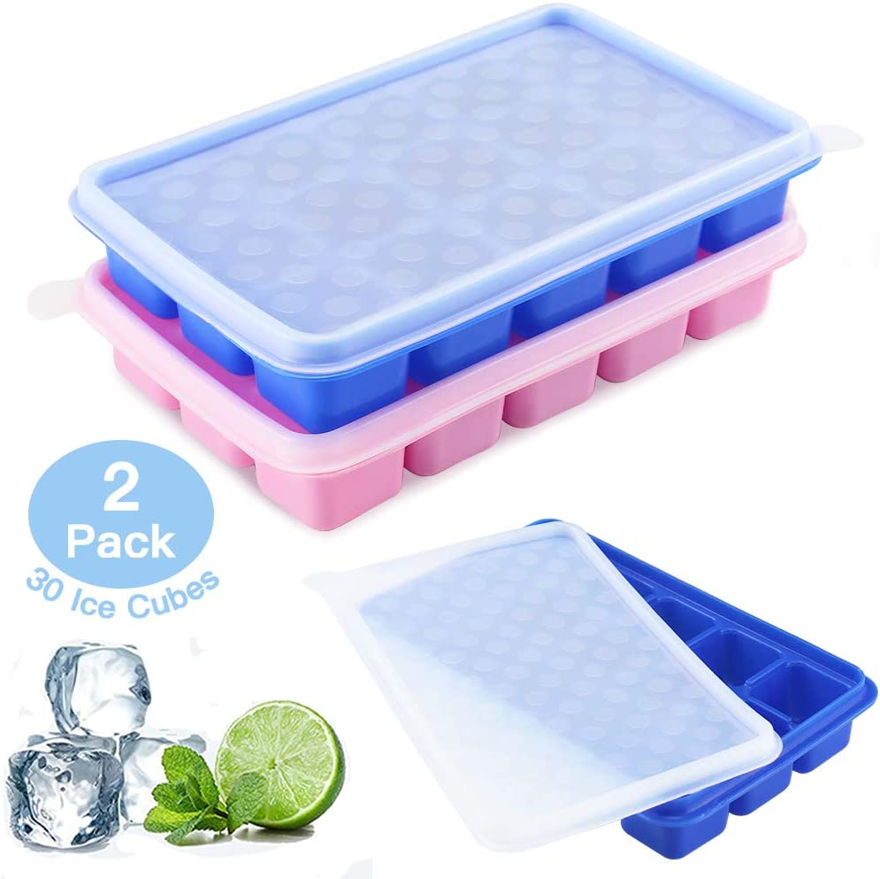 Ice Cube Tray Molds - UTAKE Ice Cube Trays Silicone with Removable Lid Non-Stick Frozen mold, Ice Trays for Freezer, BPA Free Ice Cube Mold, Flexible and Easy Release (Blue+Pink)