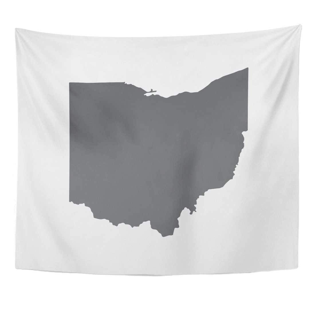 Emvency Tapestry Cleveland Ohio Grey State Border Map Toledo Abstract America Home Decor Wall Hanging for Living Room Bedroom Dorm 50x60 inches