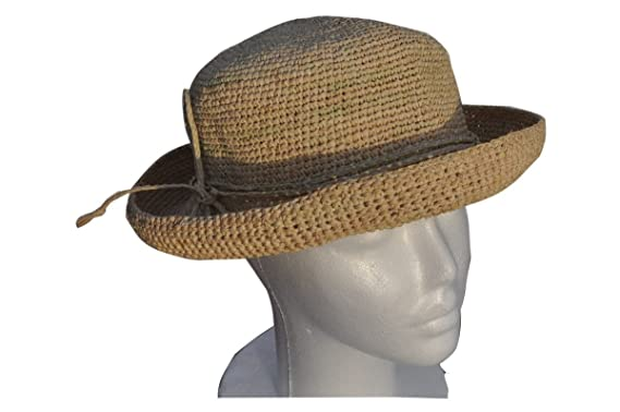 408b62a0faa49 Womens Crocheted Raffia Round Hat with Natural Straw Color. Packable ...