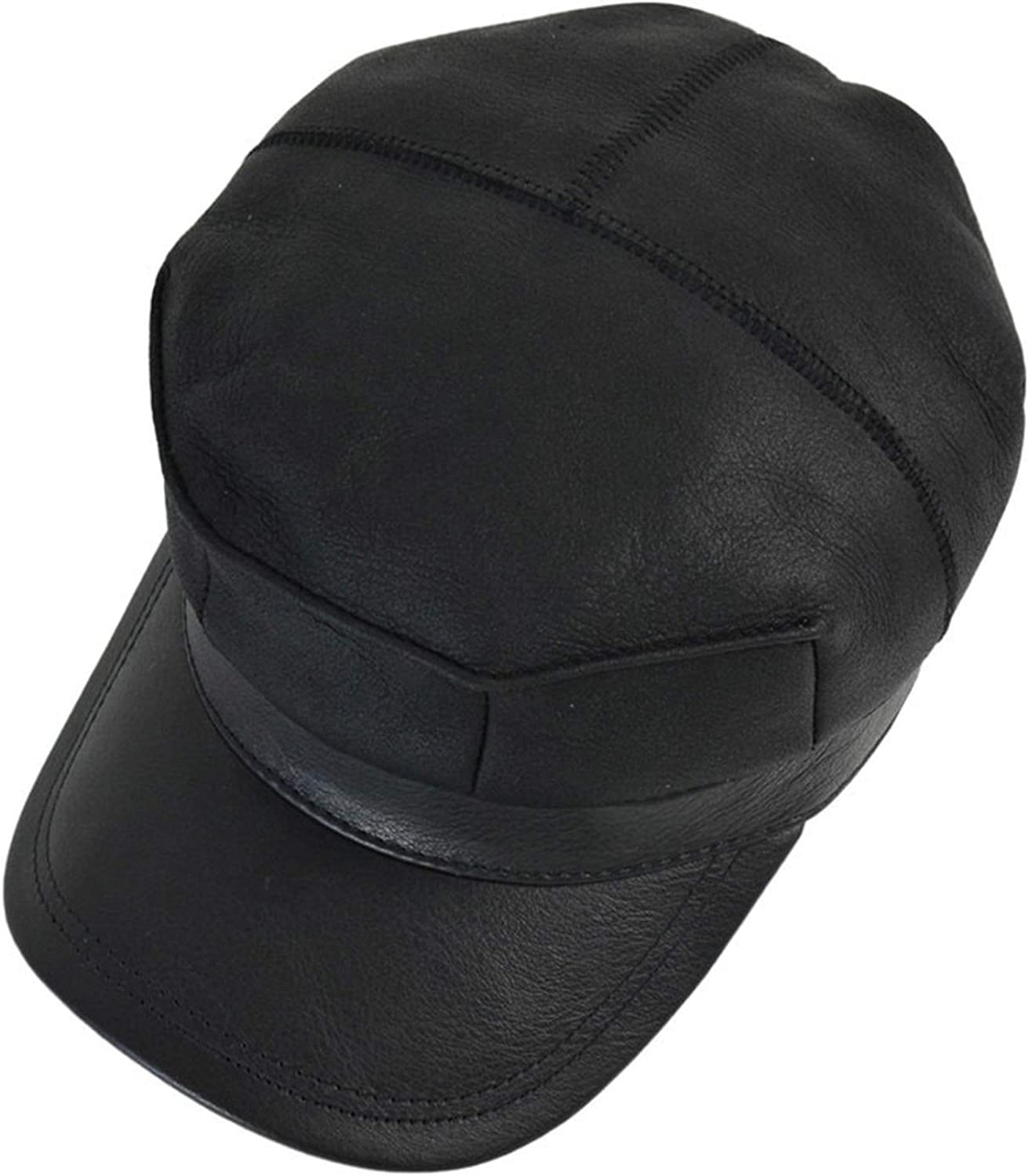 Baseball Cap hat Winter Warm Russian Old Men one Fur Beret Army Ear Flap caps Hats with Real Fur Inside