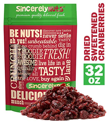 (Sincerely Nuts Dried Sweetened Cranberries (2 LB) Vegan, Kosher & Gluten-Free Food-Dried Fruit Snack-Healthy Addition to Your Favorite Meals-Nutrient Rich Alternative Treat for the Whole Family)