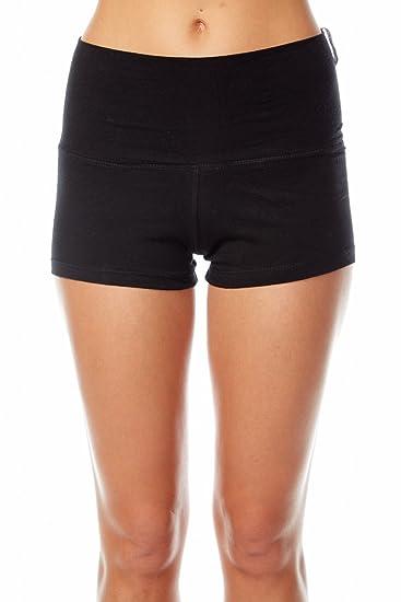 ed85b33df4 Amazon.com: Active BASIC Women's Yoga Shorts Fold Over Waist Band (Small,  Black): Clothing