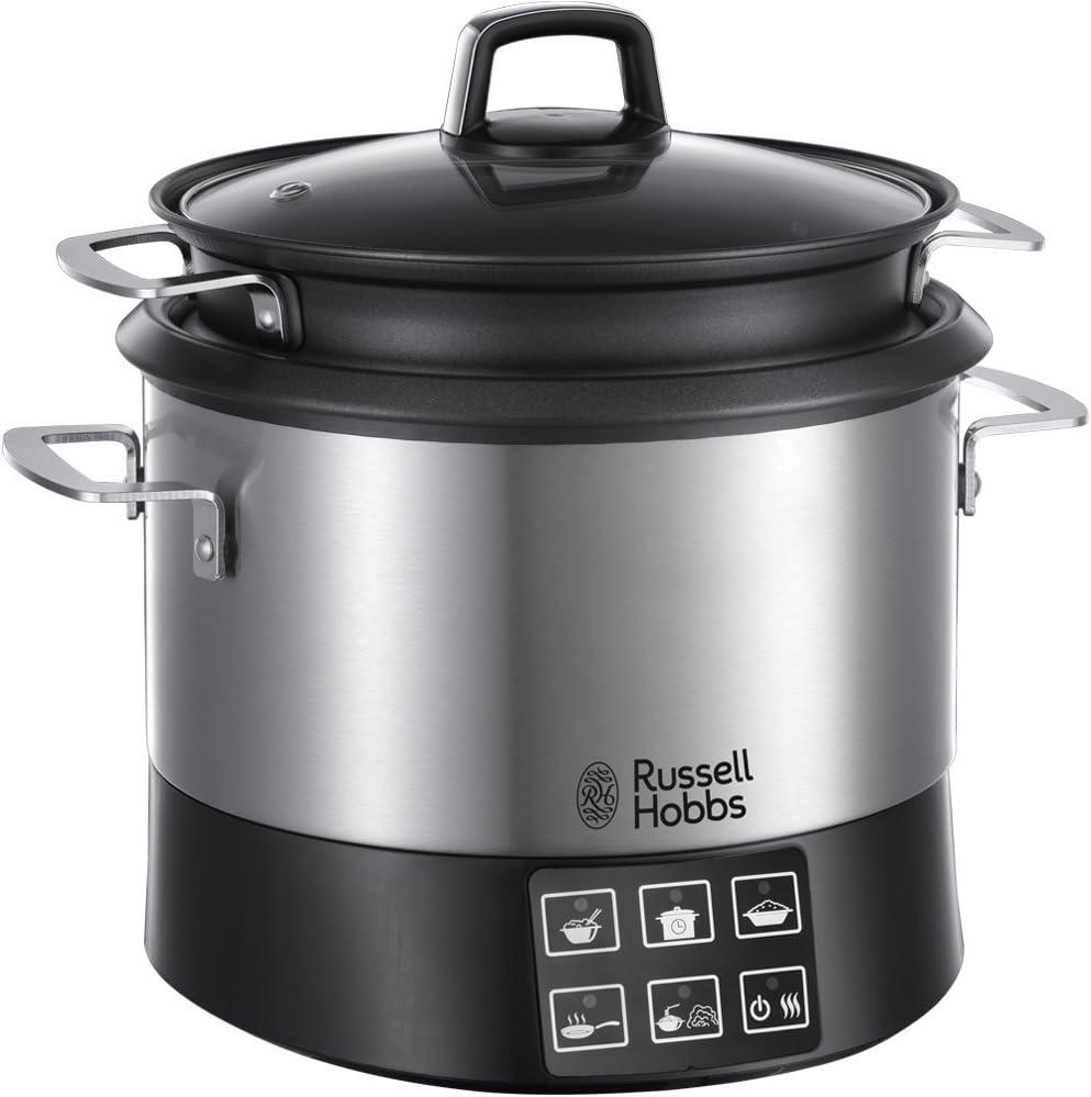 Russell Hobbs All-in-one Cookpot 23130-56 - Olla multifunción eléctrica, 8 programas de cocción, accesorios de cocina, tapa anticondensación, 4.5 l, 1000 vatios, acero inoxidable, negro/gris: Amazon.es: Hogar
