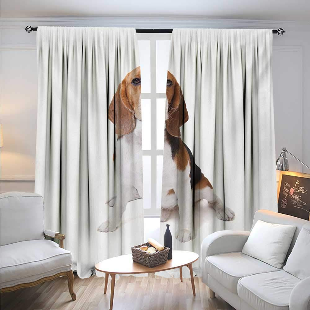 Color10 W72 Color10 W72 Blount Decor BeagleBlackout DrapesBeagle Dog Posing Loving Puppy Furry Friend Companion domestico AnimalCover The Sun W72 x L96 Cinnamon Black White