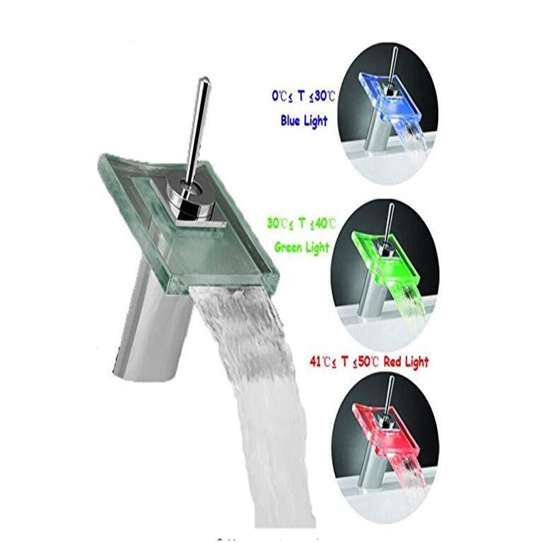 Mischbatterie Brause Drehbar Bad Spültischled Farbwechsel Becken Wasserhahn Bad Deck Mount Wasserfall Glasmischer Wasserhähne Chrom-Finish