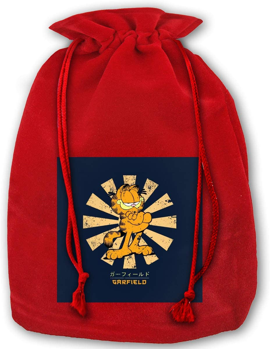 Garfield Retro Japanese Christmas Drawstring Bag Gift Bags Santa Sack for Christmas Party Decoration