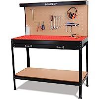 Banco de trabajo de metal con cajones de pared y de taller 120x60cm + 2 cajones y 2 estantes para herramientas