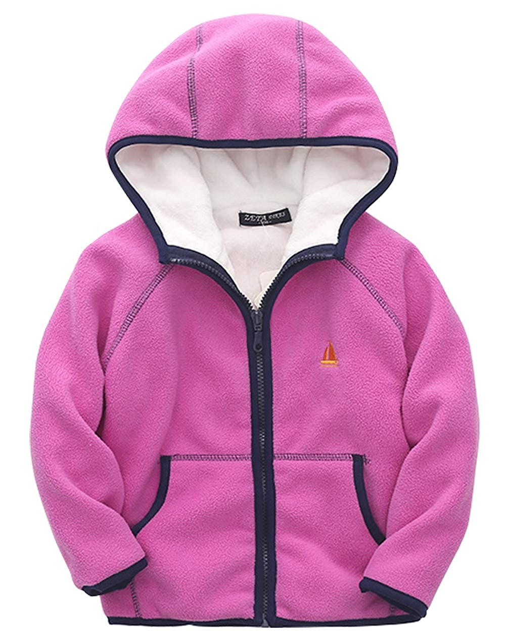 ZETA DIKES Kids Polar Fleece Jacket Hooded Long Sleeve Coat Zip up Outerwear 3-8T