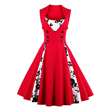 9d0c53fd776 DressLily Vintage Floral Print Rockabilly Retro Swing Tee Cocktail Women  Dress