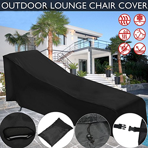 PROKTH 210D Oxford Waterproof Sunlounger Cover with Storage Bag, Garden Outdoor Sun Lounge Chair Cover, Patio Furniture Sunbed Cover Furniture Dust Cover Black by PROKTH