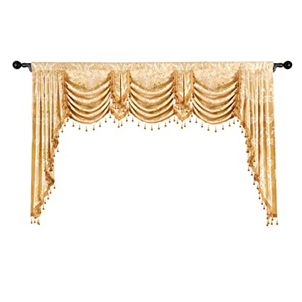 Genial Elkca Golden Jacquard Swag Waterfall Valance Luxury Curtain Valance For Living  Room (Damask Golden