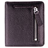 Women's RFID Blocking Small Genuine Leather Wallet Ladies Mini Card Case Purse (Black)