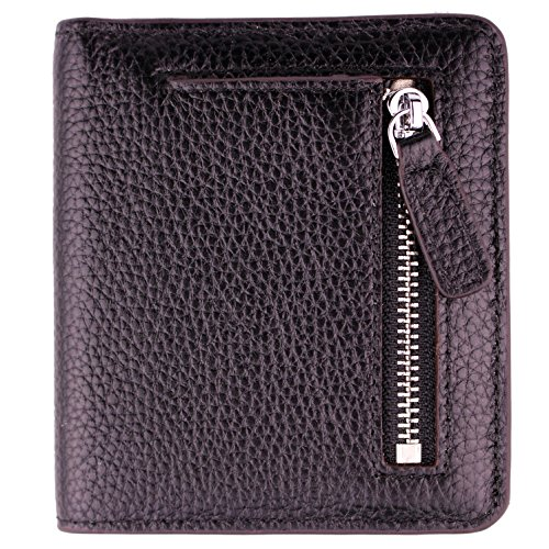 Women's RFID Blocking Small Genuine Leather Wallet Ladies Mini Card Case Purse (Black) by KELADEY