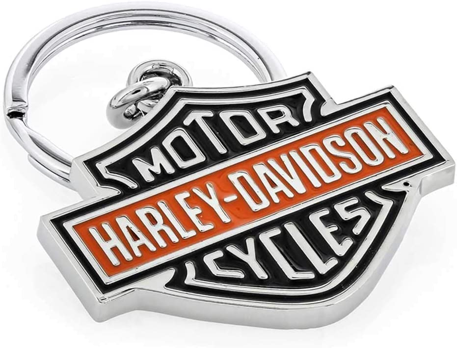 HARLEY-DAVIDSON RECTANGLE SHAPE WITH CRYSTALS /& BAR SHIELD IMPRINT KEY CHAIN FOB