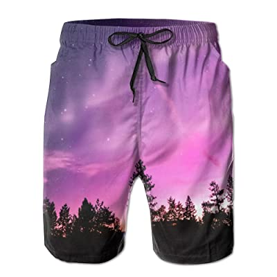 ZAPAGE Boys Sunset Forest Quick Dry Lightweight Board Shorts Printed Skateboard Short with Pocket
