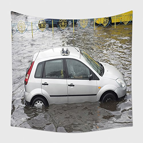 Home Decor Tapestry Wall Hanging Shoes On A Car Roof On A Flooded City Street During Heavy Storm 451157881 for Bedroom Living Room Dorm