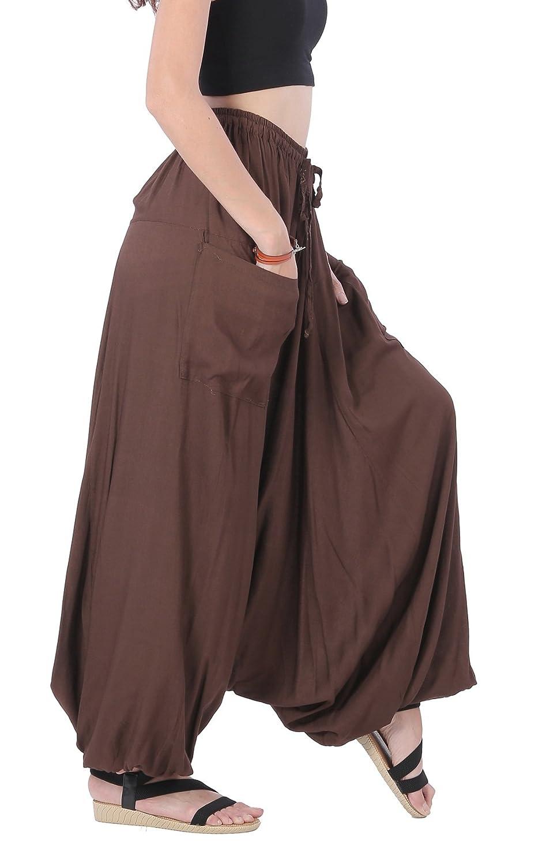 08b65c72238 CandyHusky Men Women Summer Loose Baggy Hippie Boho Gypsy Harem Pants Plus  Size (Dark Brown) at Amazon Men s Clothing store