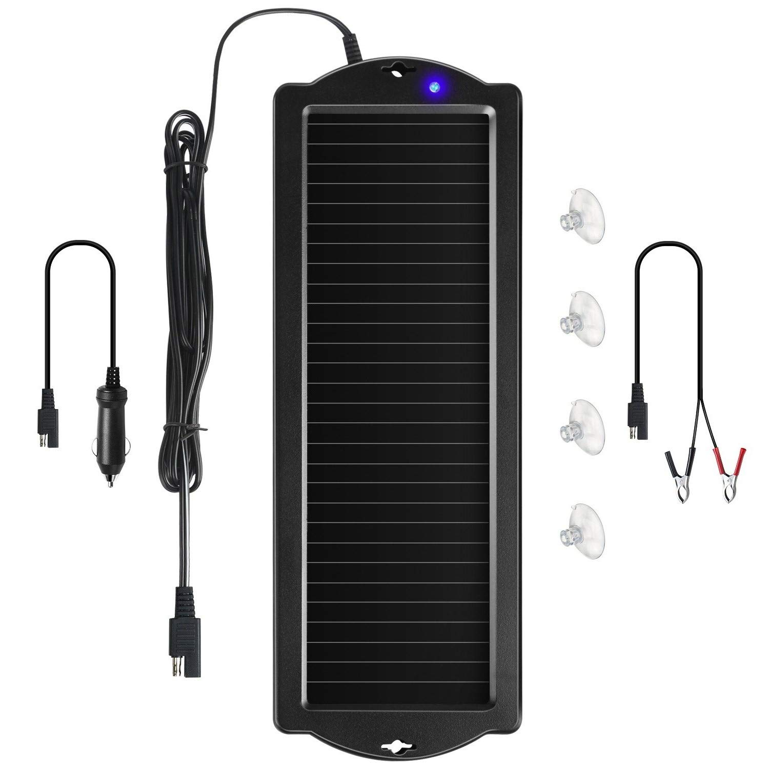 Sunway Solar Car Battery Trickle Charger & Maintainer 12V Solar Panel Power Battery Charger With Cigarette Lighter Plug Battery Clamp For Car Automotive Motorcycle Boat Marine Snowmobile Watercraft RV by Sunway Solar