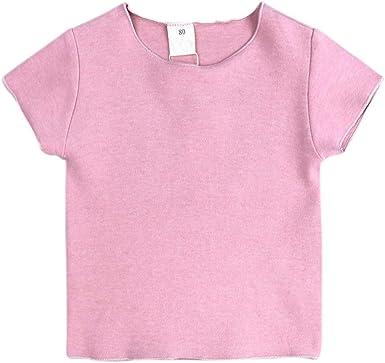 Hongyuangl Bebé Niñas Niños Camiseta básica Llanura de Manga Corta ...