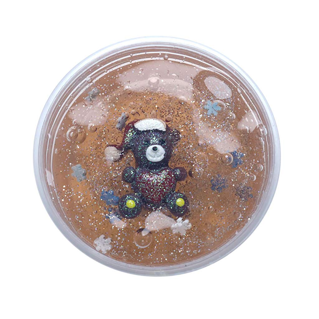 Cyhulu Christmas Slime Putty, Xmas Tree Snowman Santa Claus Elk Clay Fun Toys, Party Birthday Favors for Kids Best Christmas Stress Relief Gifts (Brown, One size)