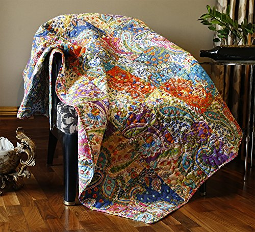 RAJRANG Multicolor Patchwork Quilt Vintage Indian Reversible Quilted Throw Blanket Super Soft and Warm Living Room Decorative for Sofa and Couch 51