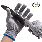 Bowoo Cut Resistant Gloves High Elastic Level 5 Protection Kitchen Safety Work Gloves EN388 Certified for Housewife Chef Pineapple Cutter Knife Sharpner(2 Pair,Large)