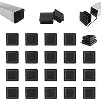 Zaky 20 tapones de láminas para tubos cuadrados de 30 x 30 mm, tubo cuadrado negro, conector de plástico