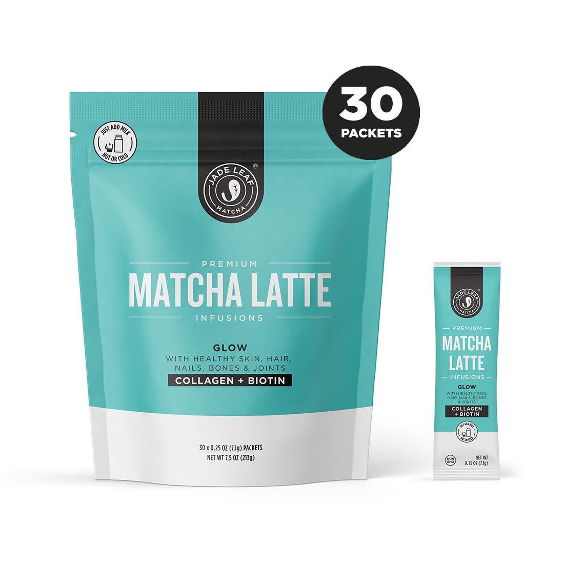 Jade Leaf Matcha Latte Infusions - GLOW - Collagen + Biotin - 30ct Single Serves