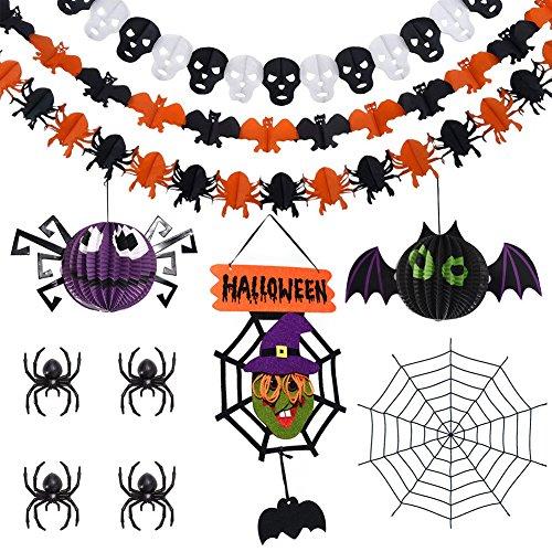 Happy Halloween Decorations Set,Halloween Party Supplies including 3Pcs Halloween Paper Garlands Banner,2Pcs Spider Bat Halloween Lanterns,1Pc Halloween Hanging Sign,4Pcs Plastic Spider,1Pc Spider Web -