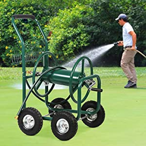 TTY Store Best Patio Lawn Garden Hose Reel Cart with Wheels for Outdoor Yard Water Planting Truck Heavy Duty Water Planting Gardening & Lawn Care Patio Lawn Garden Watering Equipment Cart - Green