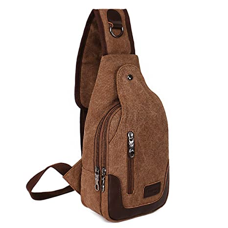 4052ff02a70 Amazon.com | Sling Backpack Casual Canvas Backpack Crossbody Sling Bag  Shoulder Bag Chest Bag for Men Brown | Casual Daypacks
