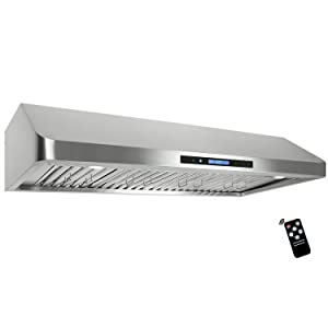 Cosmo QS48 48-in Under-Cabinet Range Hood 1000-CFM with Ducted/Ductless Convertible Duct, Wireless Remote, Kitchen Stove Vent Light, 3 Speed Exhaust, Fan Timer, Permanent Filter (Stainless Steel)