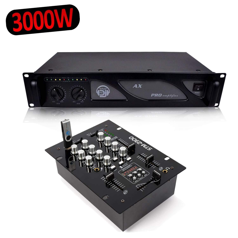 Skytec STM-2300 mesa de mezclas 2 canales USB/MP3 + Ampli AX 3000 ...