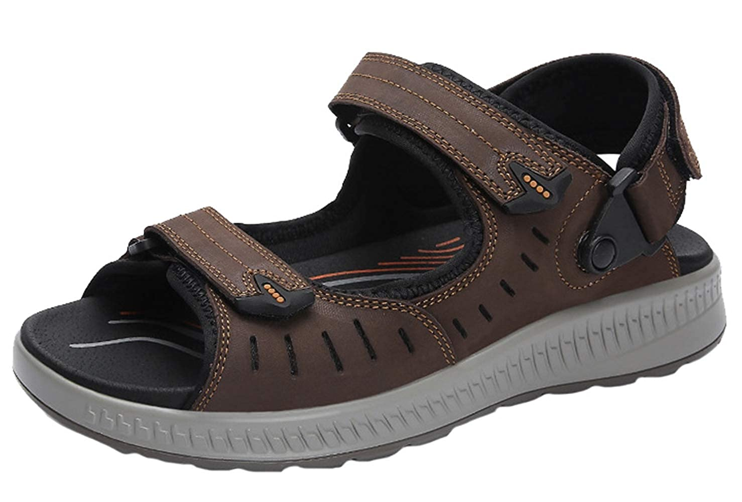 Liveinu Mens Outdoor Sports Sandals Leather Open-Toe Non-Slip Beach Sandal Shoes