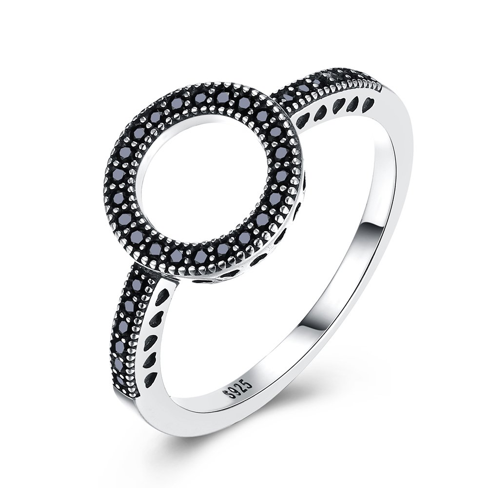 YJEdward 925 Silver Sum Round Ring Simulated Diamond Black Punk Jewelry Girl Party Wear