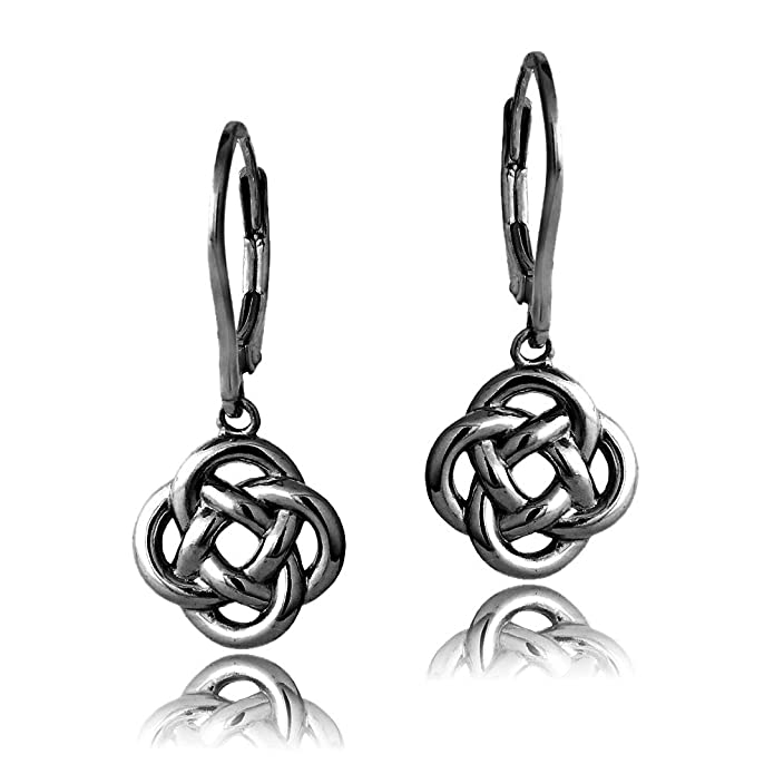 Amazon.com: Black Flashed Sterling Silver Love Knot Flower Dangle ...
