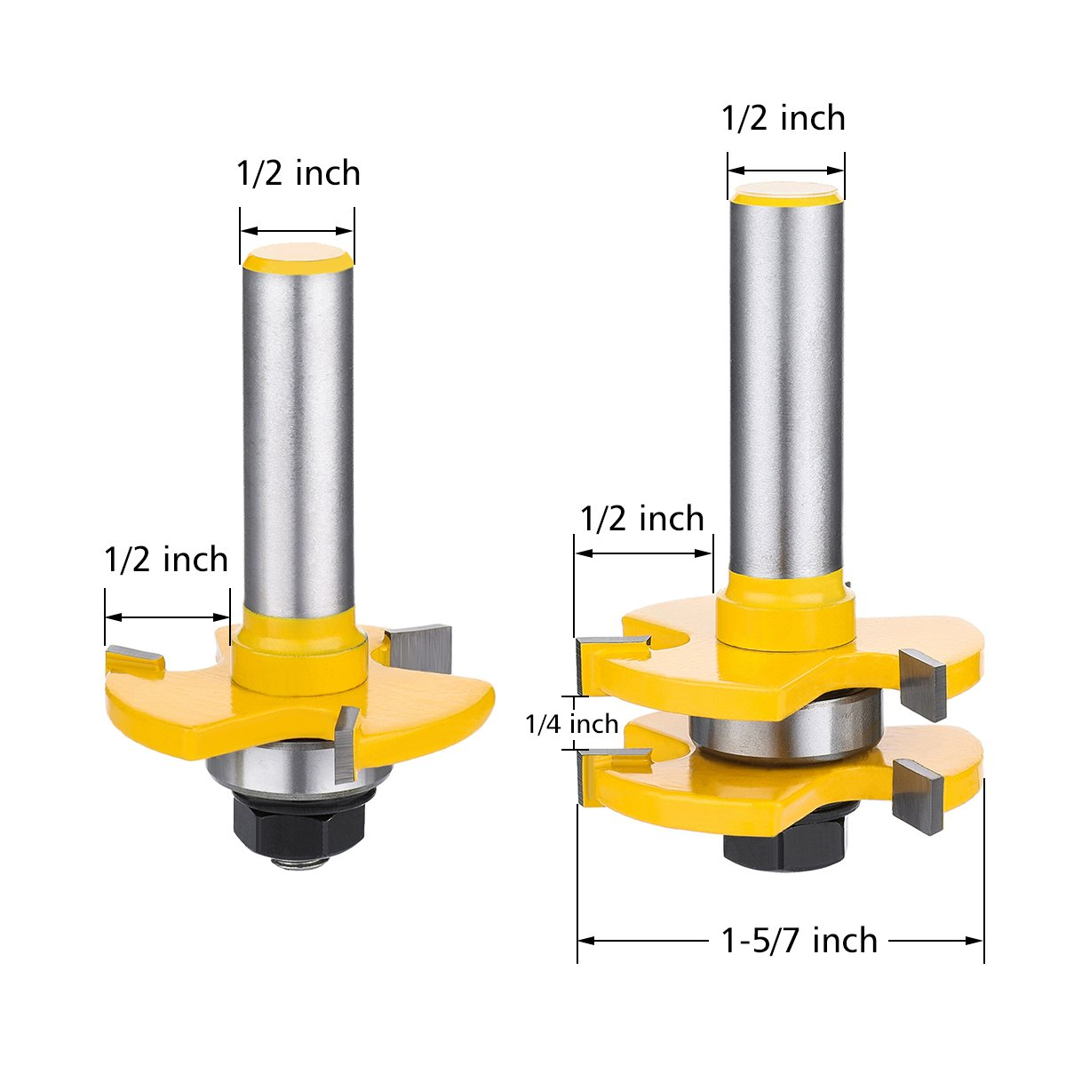 Tongue and Groove Set,DRILLPRO 2PCS Router Bit Set 1/2-Inch Shank T Shape Wood Milling Cutter Woodworking Tool For Doors, Tables, Shelves, Walls, DIY Woodwork by DRILLPRO (Image #4)
