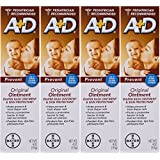A+D Original Diaper Rash Ointment, Baby Skin Protectant With Lanolin and Petrolatum, Seals Out Wetness, Helps Prevent Diaper Rash, 4 Ounce Tube (Pack of 4)
