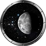 "12"" Porthole Instant Outer Space Ship Window MOON #1 SILVER Wall Sticker Kids Decal Room Home Art Décor Graphic SMALL"