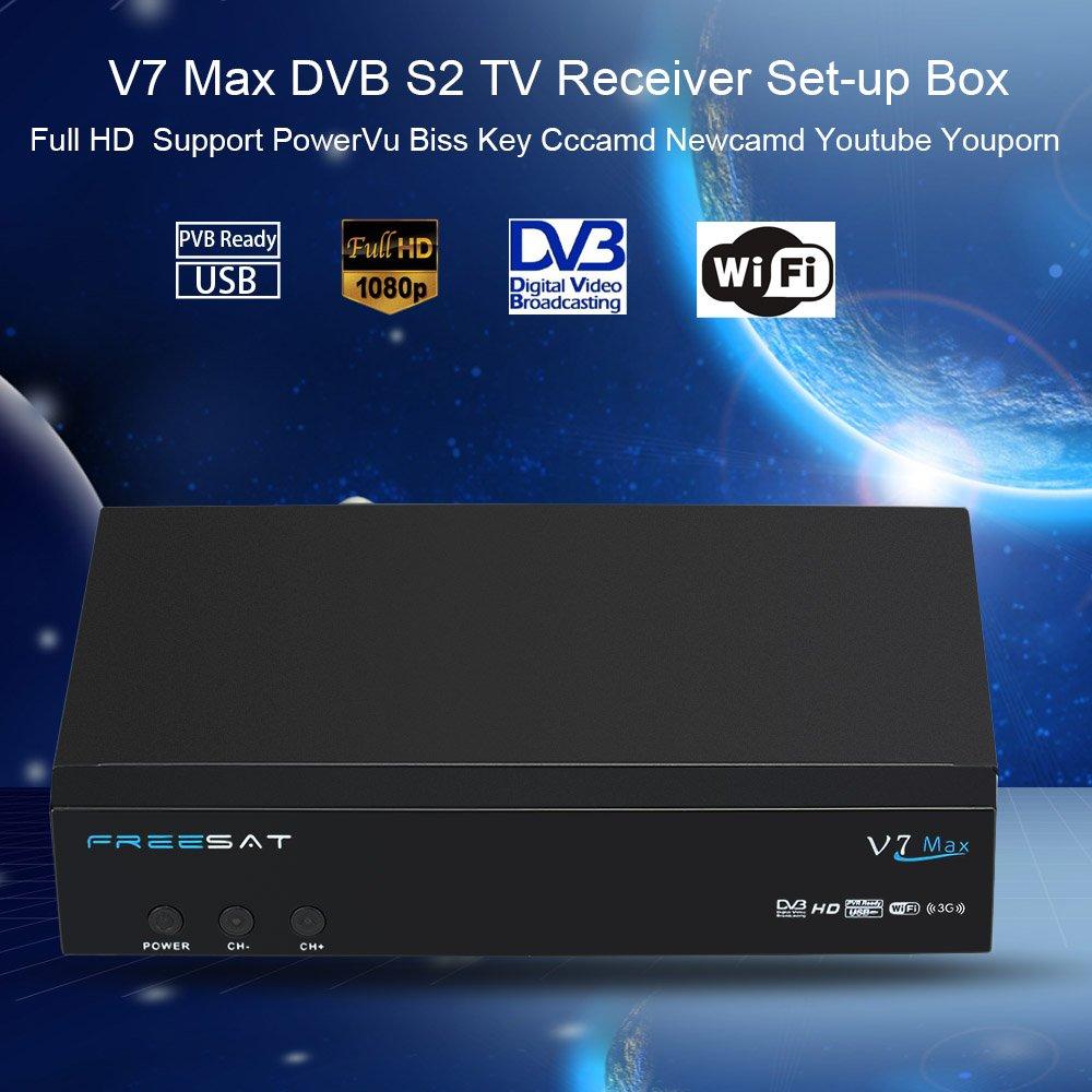 docooler FREESAT V7 Max DVB-S2 Receptor de TV Set-up la Caja 1080P HD Soporte Youtube enchufe de la UE