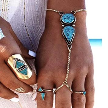 Amazon Com Victray Boho Hand Chains Bracelets Turquoise Rings