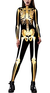 JomeDesign Womens 3D Skeleton Halloween Costumes Cosplay Jumpsuit Bodysuit