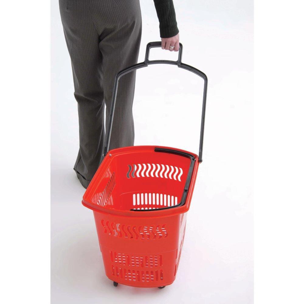 Continental Store Fixture Kartwheels Red Plastic Rolling Grocery Basket Set - 24''L x 13 1/2''W x 14 1/2''D