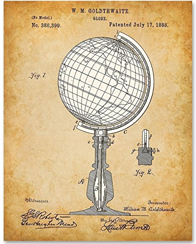 Globe Map Art - 11x14 Unframed Patent Print - Great Office or Classroom - Antique Spherical Globe